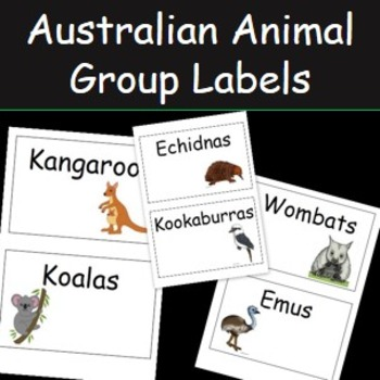 Australian Animal Blank Cards or Group Labels