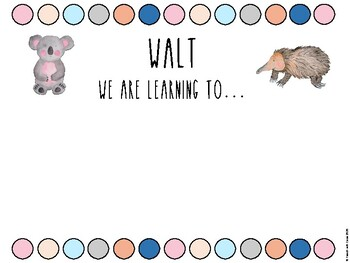 Australian Animal Bush Buddies Learning Intention Posters Visible Learning