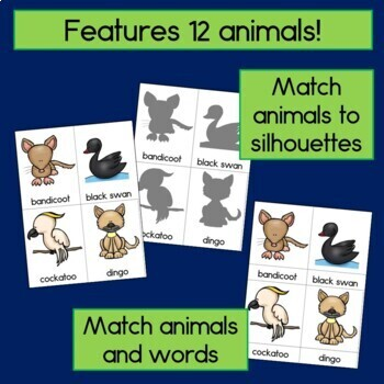 Australian Animal Cards for Read the Room, Matching Games, and More!