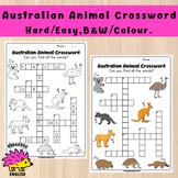 Australian Animal Crossword, Hard / Easy, Black and White / Colour
