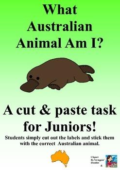 Australian Animal Cut & Paste Task - What Australian Animal Am I?