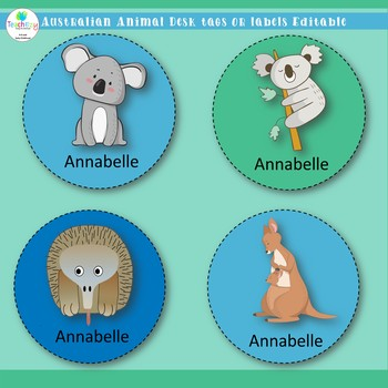 Australian Animal Desk Tags or Labels Editable