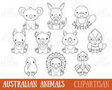 Australian Animal Digital Stamps, Kangaroo, Koala, Wombat
