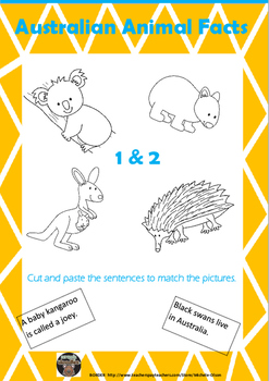 Australian Animal Facts Cut and Paste Activities No Prep