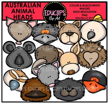 Australian Animal Heads Clip Art Bundle {Educlips Clipart}