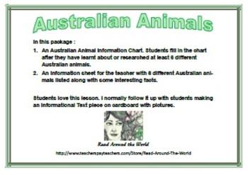 FREE Australian Animal Information Chart