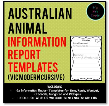 Australian Animal Information Report Templates Vic Modern Cursive