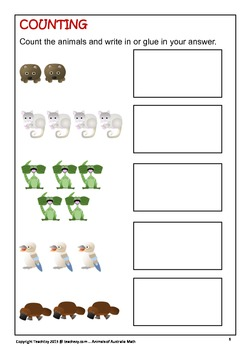 Australian Animal Math Worksheets
