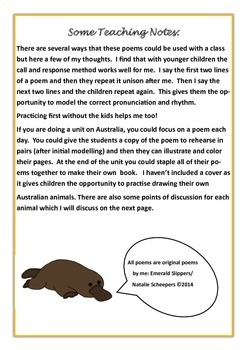 Australian Animal Poems Younger Students Printables Teaching Ideas, notes & info