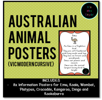 Australian Animal Posters Vic Modern Cursive