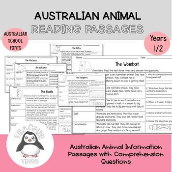 Australian Animal Reading Passages - Years 1/2