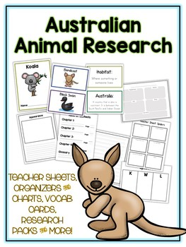 Australian Animal Research Project 14 Types, Vocab Cards, Packet, Book  + More!