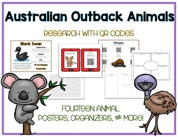 Australian Animal - Research w QR Codes, Posters, Organizer - 14 Pack