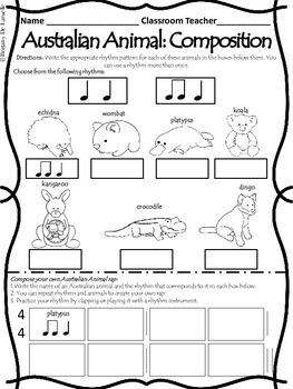 Australian Animal Rhythm Activities (Ta & Ti-Ti)