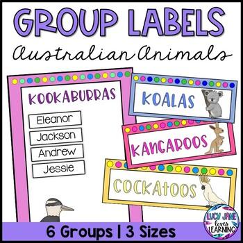 Australian Animal Theme Group Labels