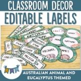 Australian Animal Themed editable classroom labels