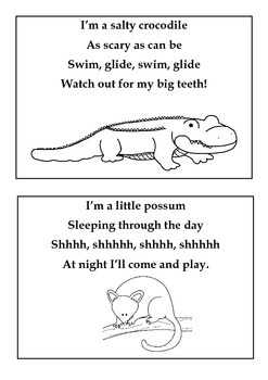 Australia Theme! Oz Animals Toe Tapping Poem Book To Make With Children