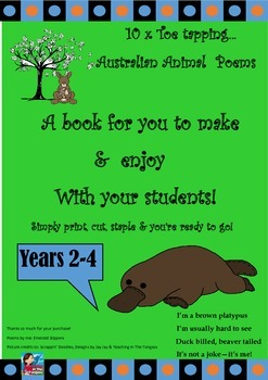 Australia Theme! Oz Animals Toe Tapping Poem Book To Make