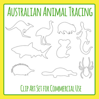 Australian Animal Trace or Cut Dashed / Dotted Clip Art for Commercial Use