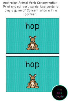 Australian Animal Verb Concentration Game