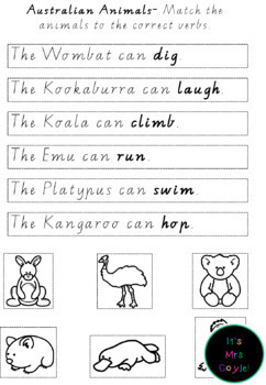 Australian Animal Verb Concentration Game Vic Modern Cursive