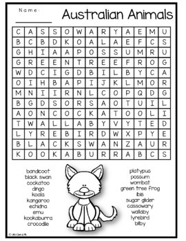 Australian Animal Word Search