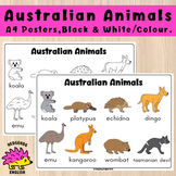 Australian Animals - A4 Posters Black and White / Colour