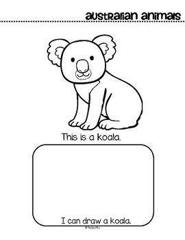 Animals from Australia Activity Printables for Preschool - Read, Color and Draw