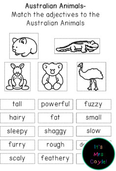 Australian Animals Adjective Match