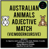 Australian Animals Adjective Match Vic Modern Cursive