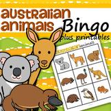 Australian Animals Bingo plus Printables for Preschool and Pre-K