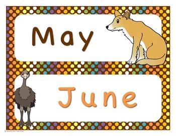 Australian Animals Calendar Months Headers
