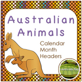 Australian Animals Calendar Months Headers