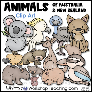 Animals from Australia and New Zealand (24 graphics) Whims