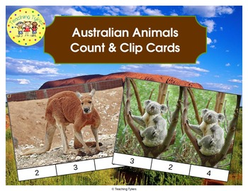 Australian Animals Count and Clip Task Cards