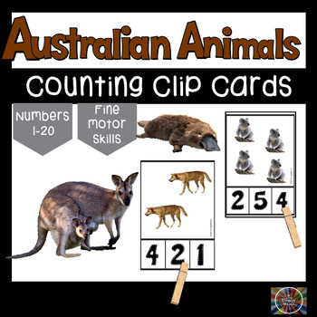 Australian Animals Count and Clip Number Cards