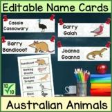 Australian Animals | Editable Name Cards| Classroom Displa