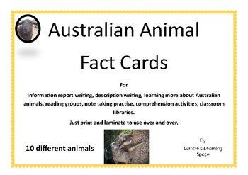 Australian Animals Information Cards
