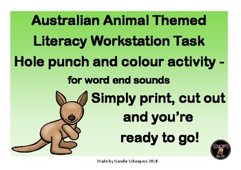 Australian Animals Literacy Workstation End Sounds Task Hole Punch Fine Motor