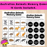 Australian Animals Memory Game - 16 Cards Included