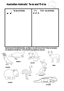 Australian Animals Music Task Ta Ta Ti-ti Ta With Answers Music For Juniors