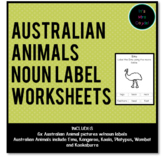 Australian Animals Noun Label Worksheets