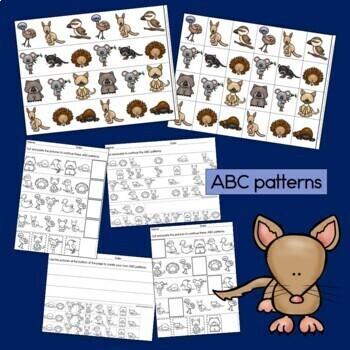 Australian Animals Patterns Math Center with AB, ABC, AAB & ABB patterns