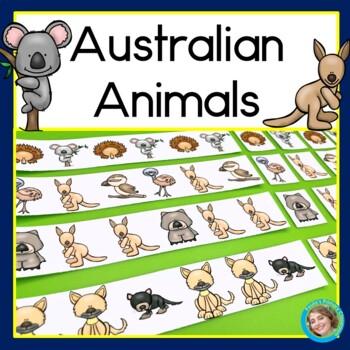 Australian Animals Patterns Math Center with AB, ABC, AAB