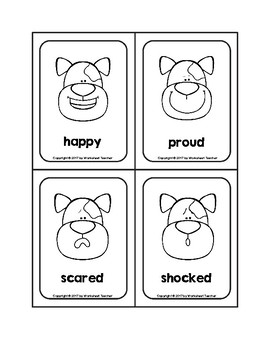 Doggone Emotions Picture Word B&W Flash Cards