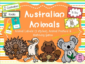 Australian Animals Posters, Matching Game & Word Cards