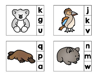 Australian Animals Beginning Sounds Preschool Clip Cards