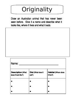 Australian Animals Thematic Unit Contract