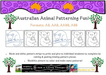 Australian Animals Theme Cut & Paste Coloring Patterning Math Worksheets K-2