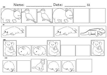Australian Animals Theme Cut Paste Coloring Patterning Math Worksheets K 2